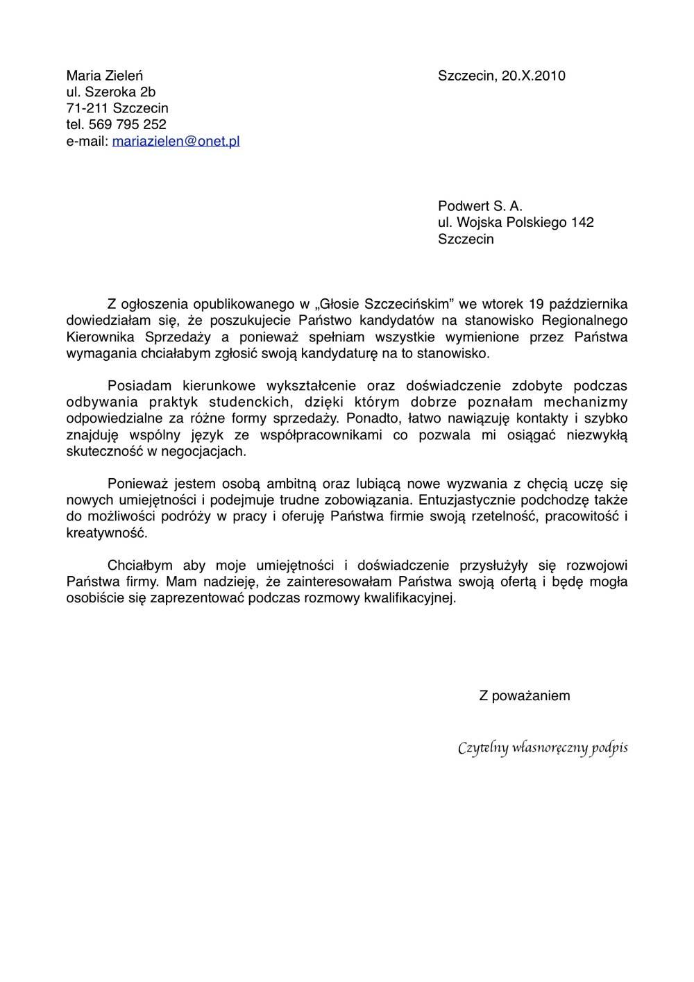 List Motywacyjny Do Pracy Pdf